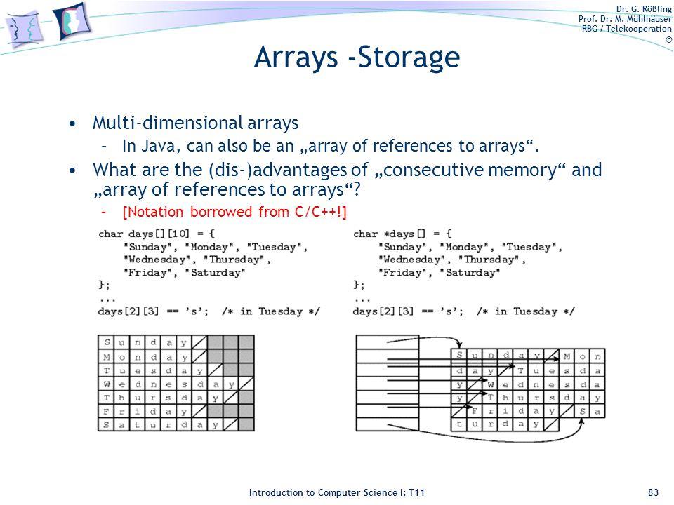 Dr. G. Rößling Prof. Dr. M. Mühlhäuser RBG / Telekooperation © Introduction to Computer Science I: T11 Arrays -Storage Multi-dimensional arrays –In Ja