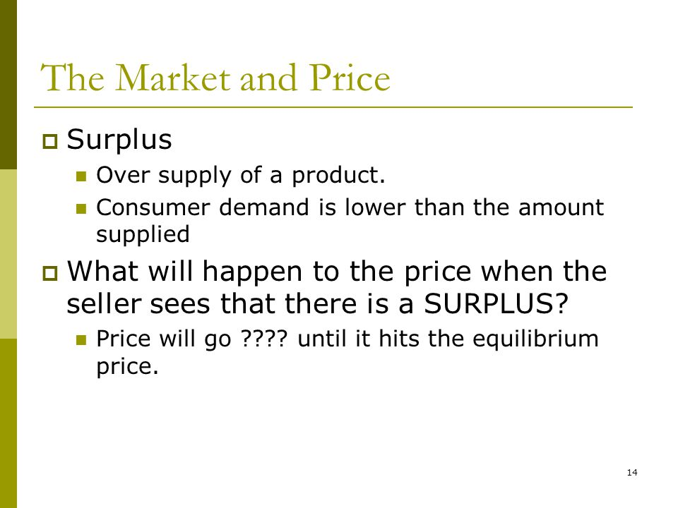 14 The Market and Price  Surplus Over supply of a product.