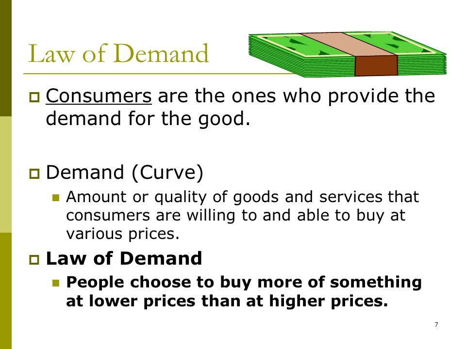 8 Higher Demand Lower Demand Higher Price Lower Price Law of Demand CAUSES