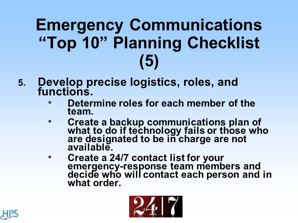 Emergency Communications Top 10 Planning Checklist (5) 5.