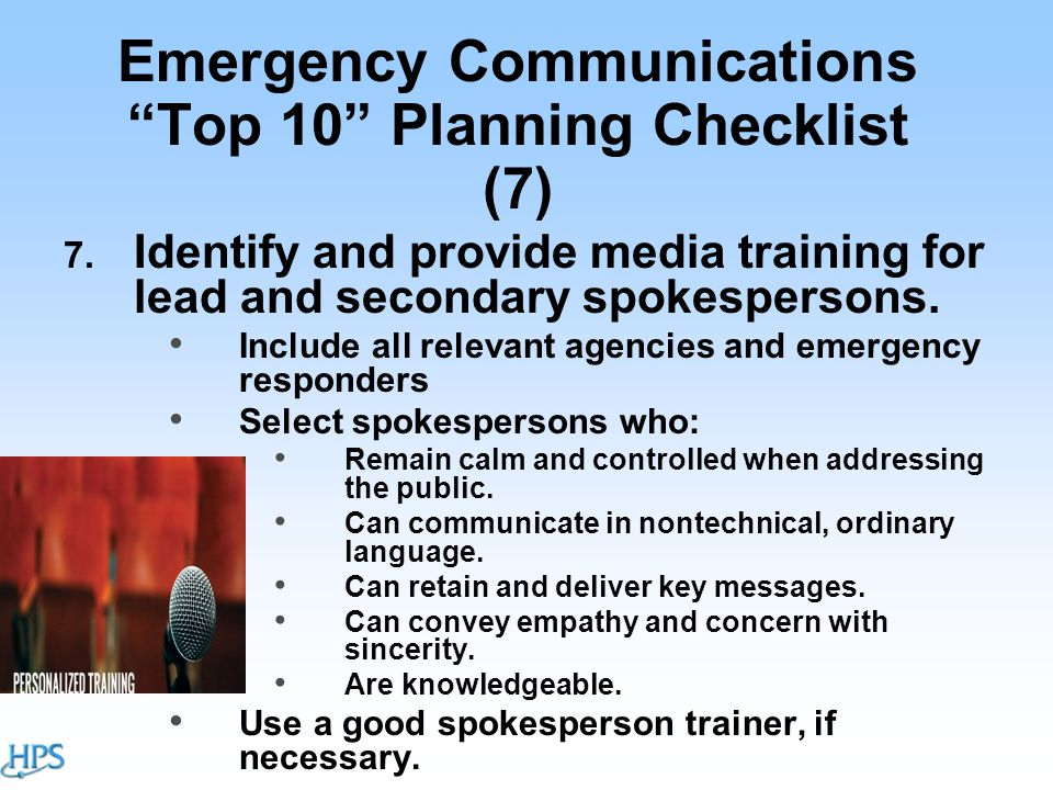 Emergency Communications Top 10 Planning Checklist (7) 7.