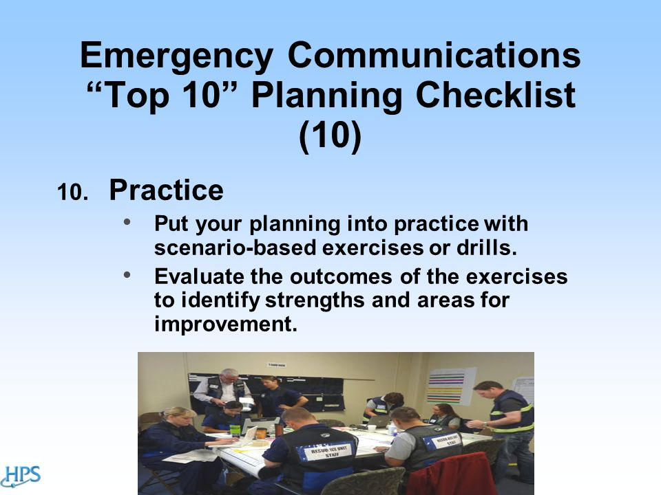 Emergency Communications Top 10 Planning Checklist (10) 10.