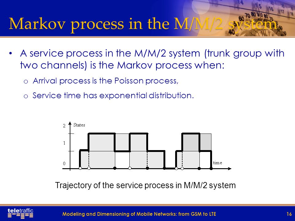 Markov process in the M/M/2 system A service process in the M/M/2 system (trunk group with two channels) is the Markov process when: o Arrival process is the Poisson process, o Service time has exponential distribution.