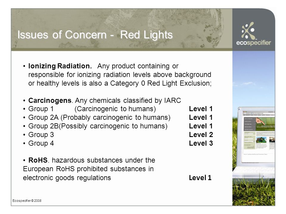 Ecospecifier © 2008 Issues of Concern - Red Lights Ionizing Radiation.