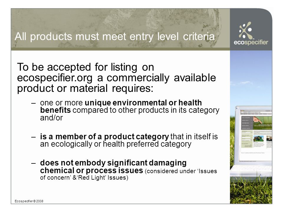 How does ecospecifier assess.