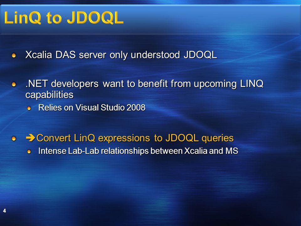 Xcalia SDO DAS uses JDOQL in standard 5 Xcalia SDO DAS can now alternately use LINQ