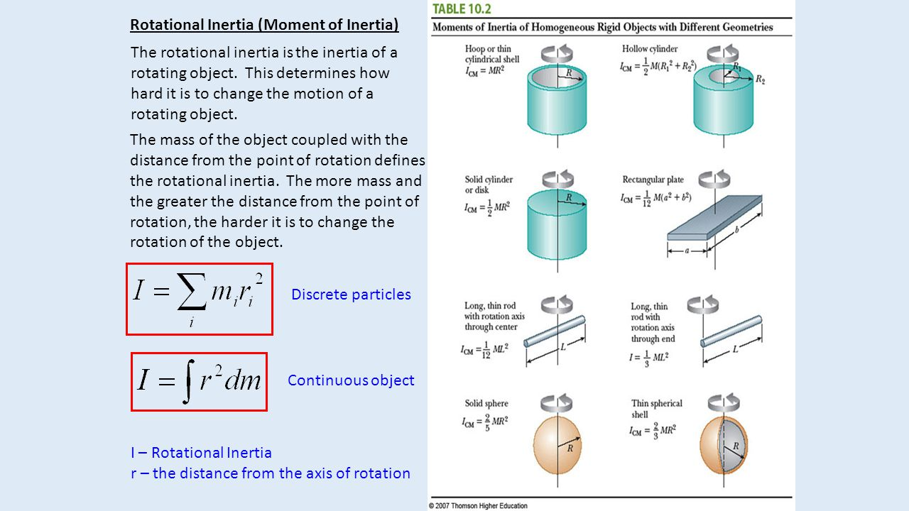 Rotational Inertia (Moment of Inertia) The rotational inertia is the inertia of a rotating object. This determines how hard it is to change the motion
