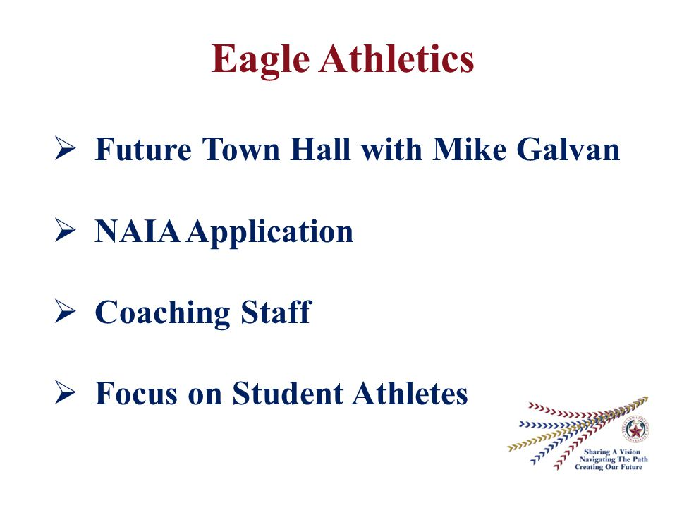 Eagle Athletics  Future Town Hall with Mike Galvan  NAIA Application  Coaching Staff  Focus on Student Athletes