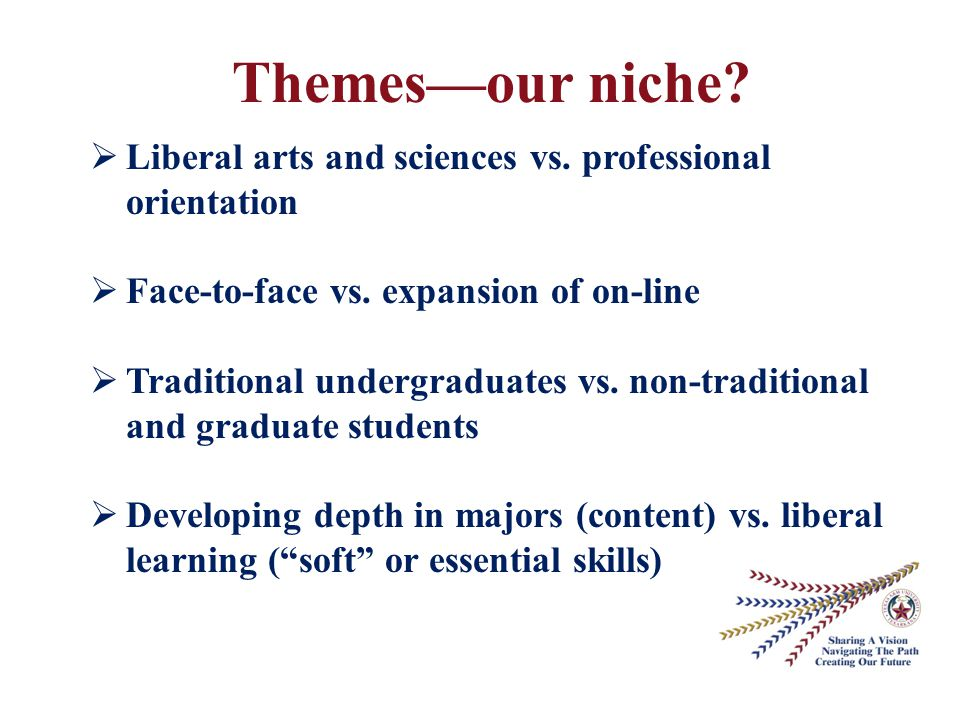 Themes—our niche.  Liberal arts and sciences vs.