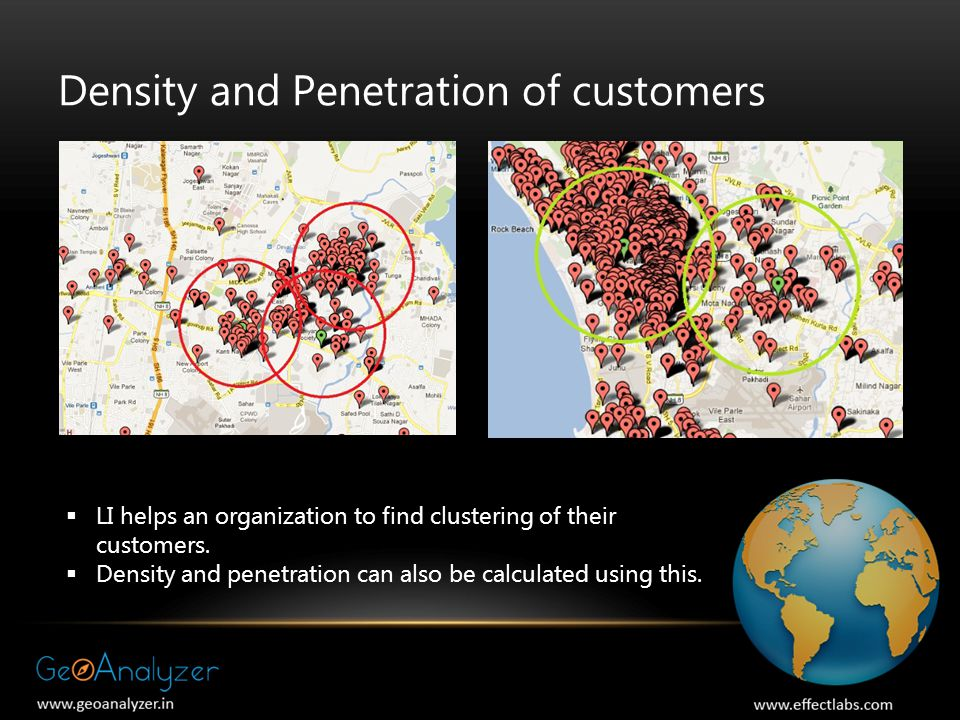 Density and Penetration of customers  LI helps an organization to find clustering of their customers.  Density and penetration can also be calculate