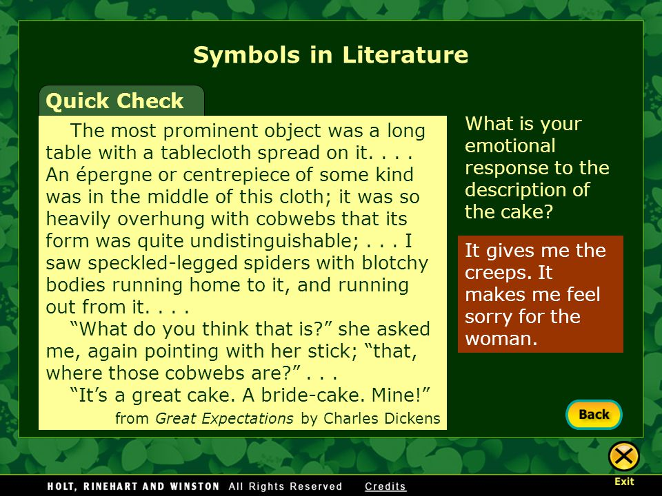 It gives me the creeps. It makes me feel sorry for the woman. What is your emotional response to the description of the cake? Symbols in Literature Qu