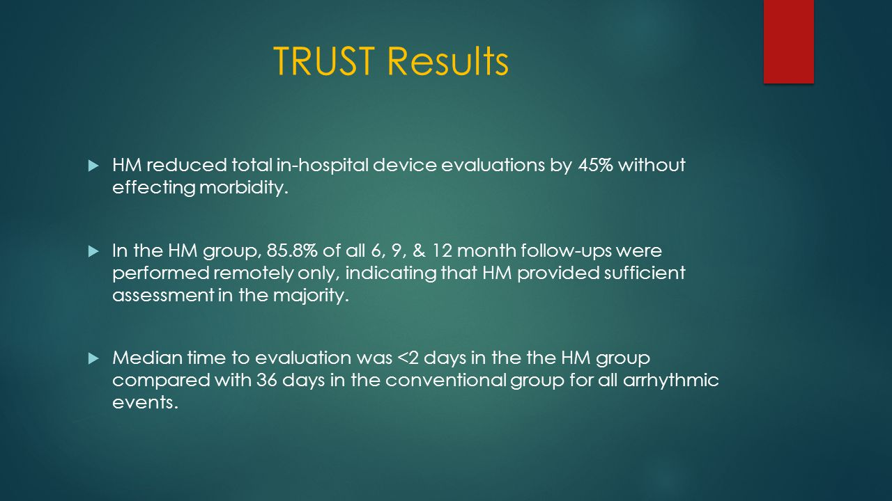 TRUST Results  HM reduced total in-hospital device evaluations by 45% without effecting morbidity.