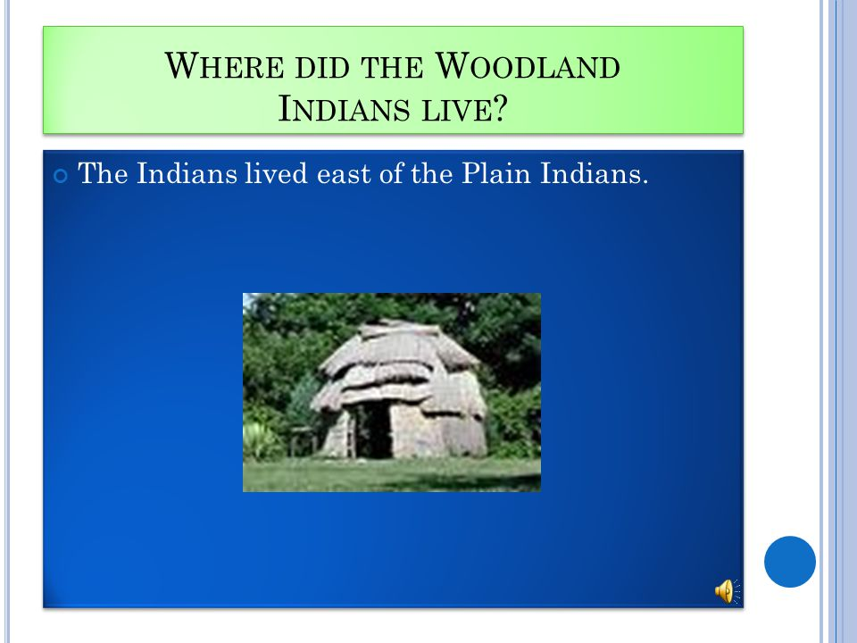 W HERE DID THE W OODLAND I NDIANS LIVE The Indians lived east of the Plain Indians.