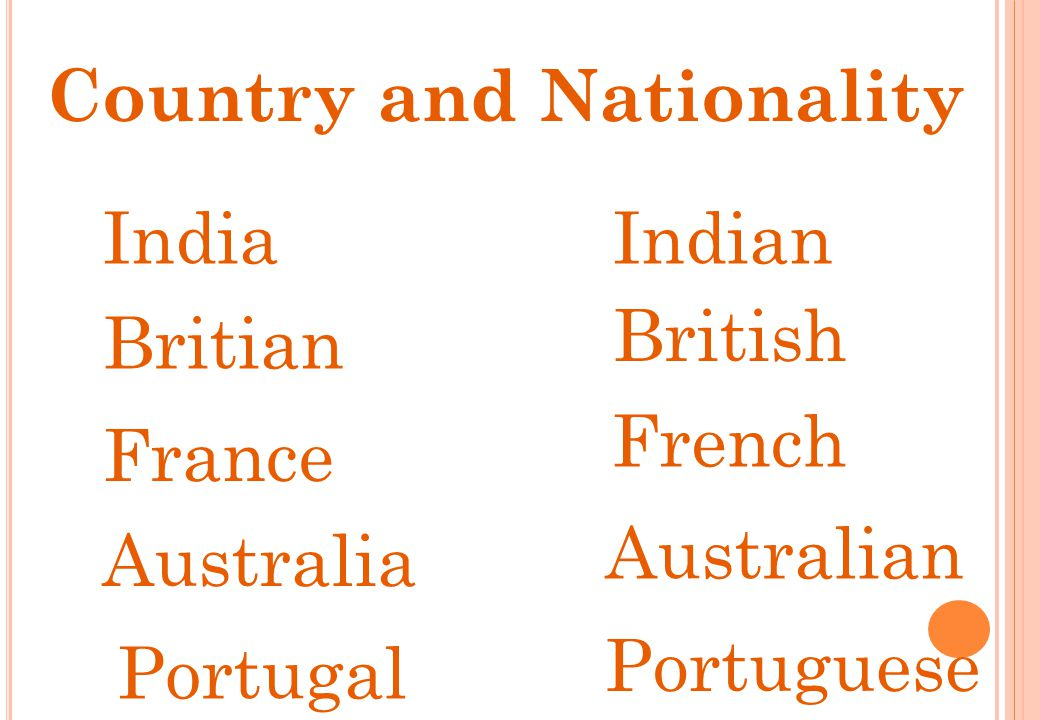 IndiaIndian Britian British France French Australia Australian Portugal Portuguese Country and Nationality