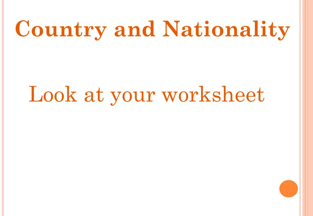 Look at your worksheet Country and Nationality