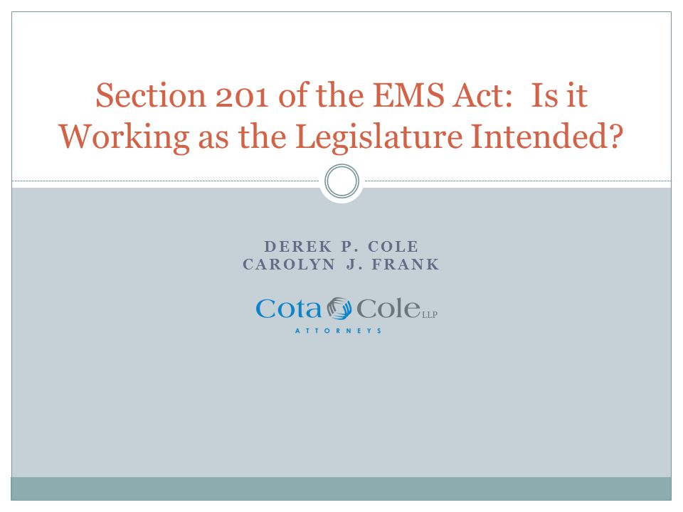 Legislative Intent The clear intention of the Legislature was for integration of services by providers within a local EMS system.