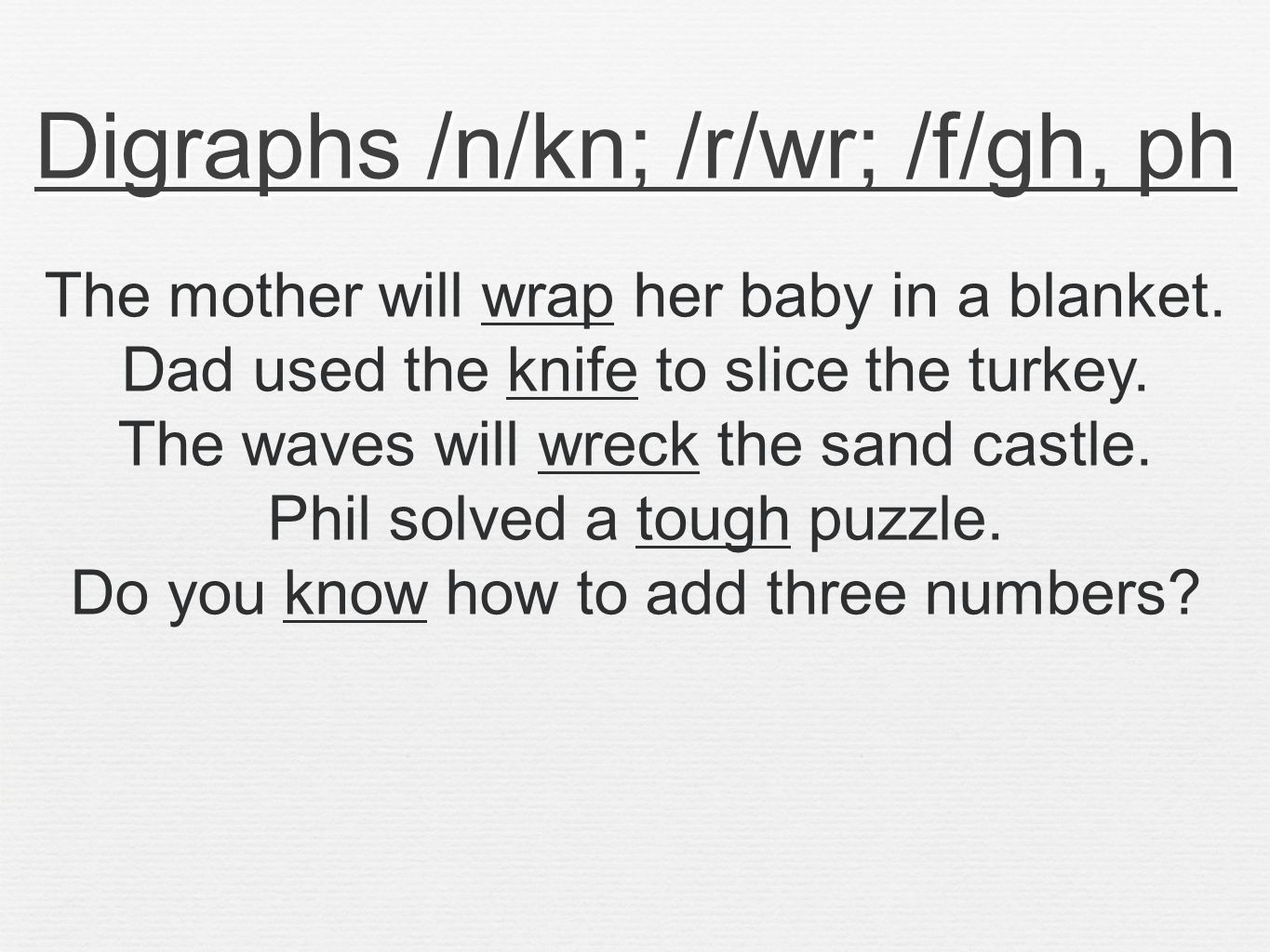 Digraphs /n/kn; /r/wr; /f/gh, ph The mother will wrap her baby in a blanket.
