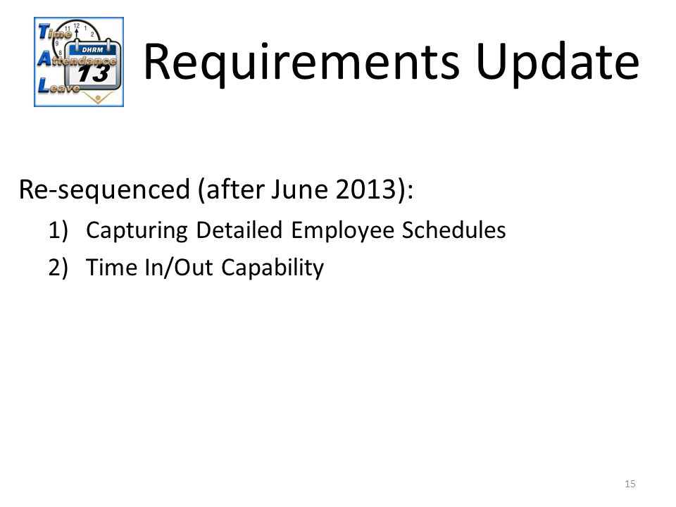 15 Requirements Update Re-sequenced (after June 2013): 1)Capturing Detailed Employee Schedules 2)Time In/Out Capability