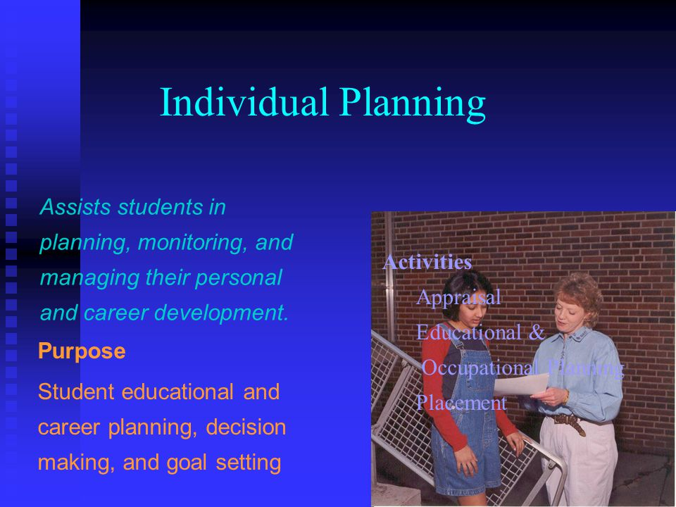 Individual Planning Assists students in planning, monitoring, and managing their personal and career development. Purpose Student educational and care