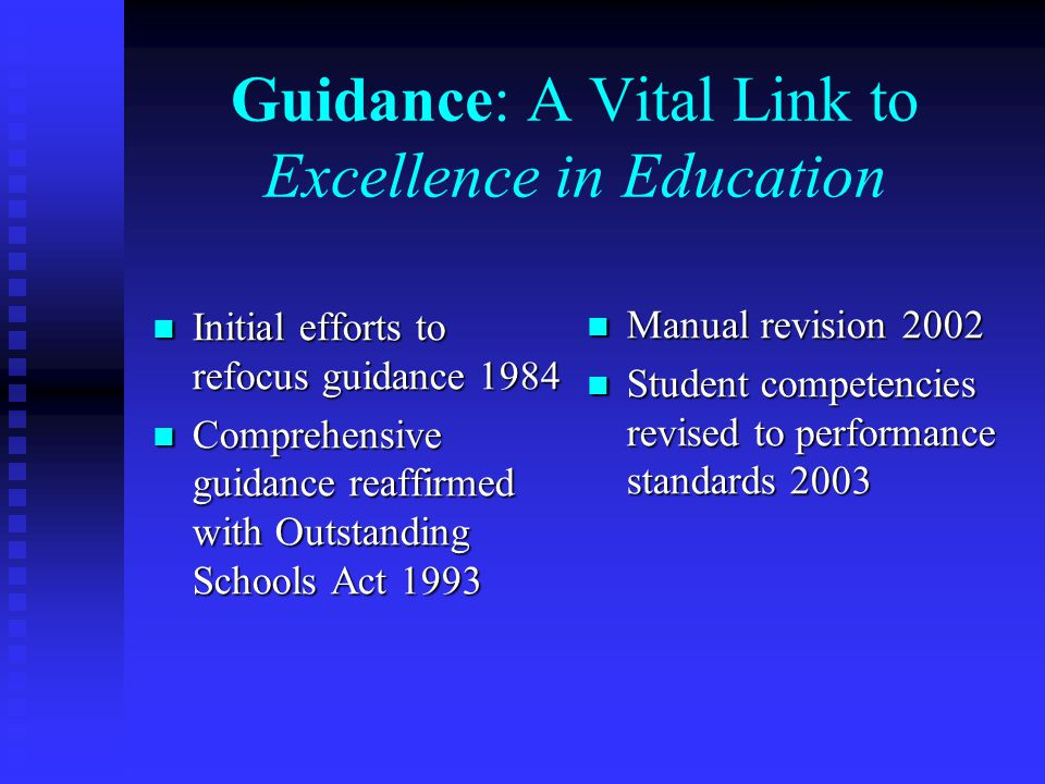 Guidance: A Vital Link to Excellence in Education Initial efforts to refocus guidance 1984 Initial efforts to refocus guidance 1984 Comprehensive guid