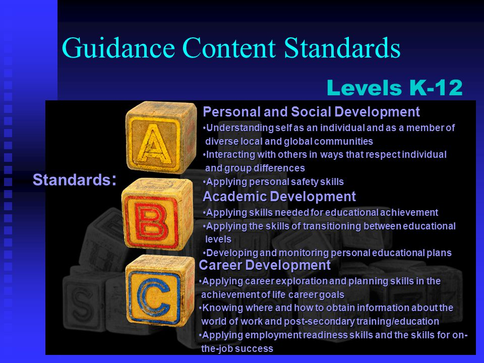 Guidance Content Standards Academic Development Applying skills needed for educational achievementApplying skills needed for educational achievement A