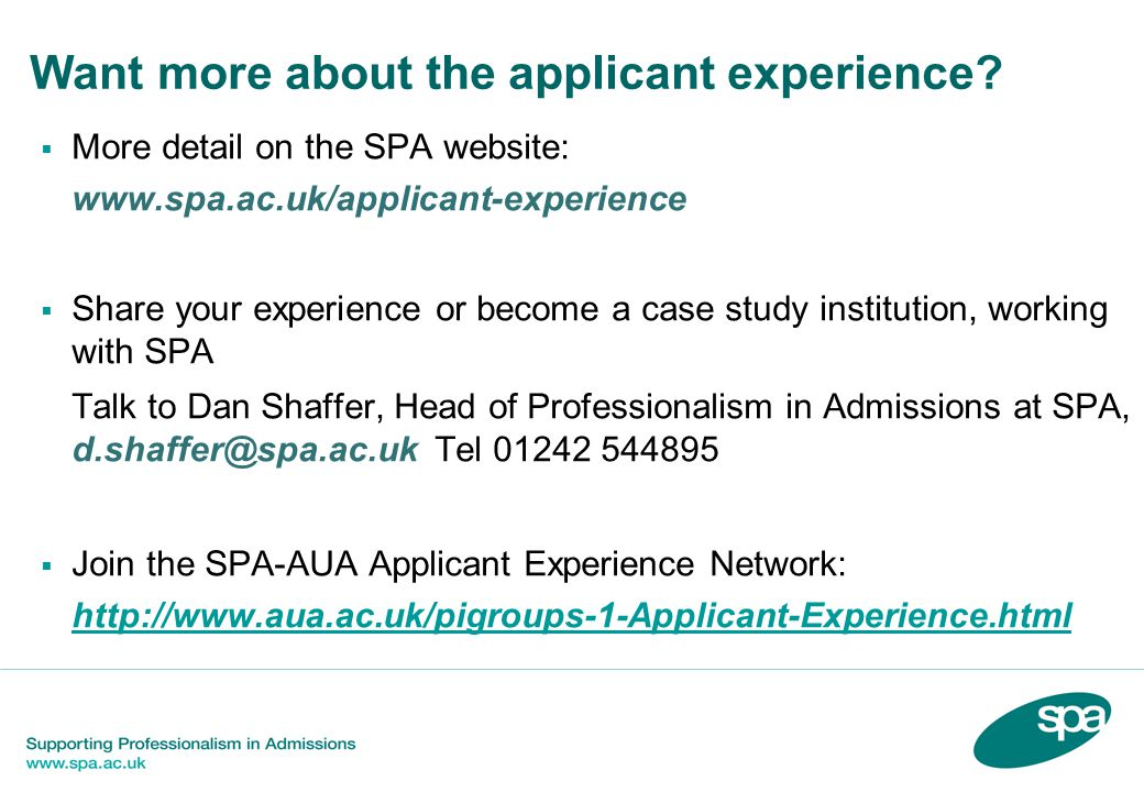 Want more about the applicant experience.