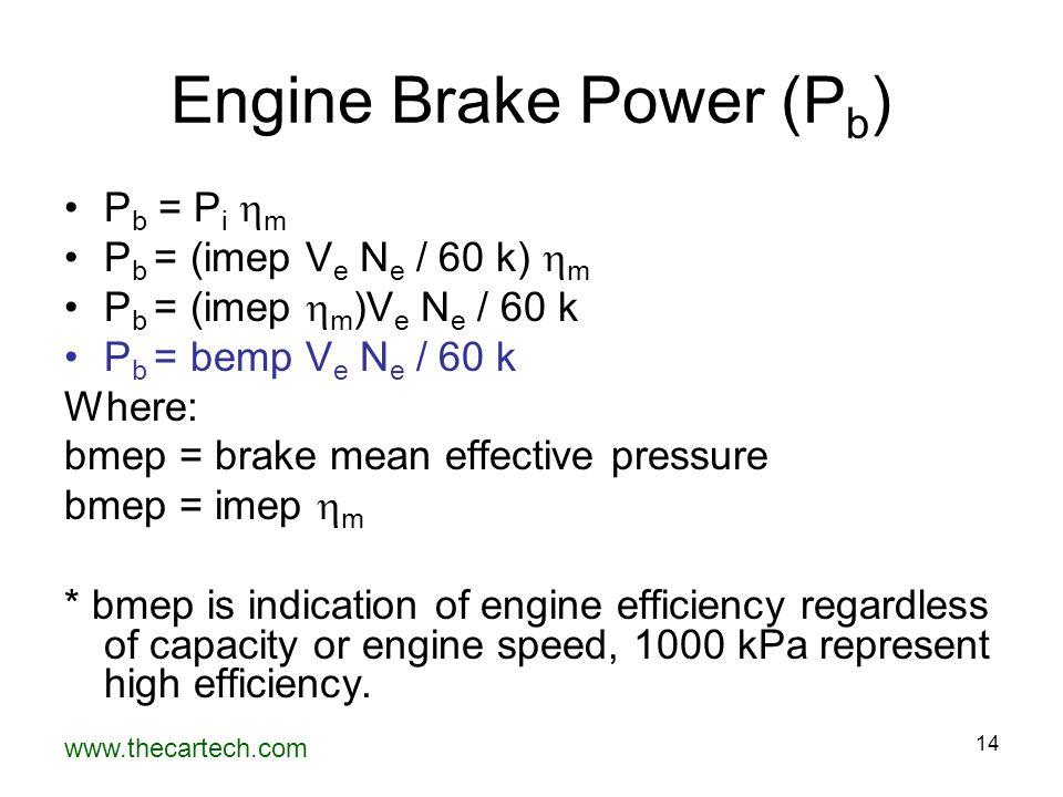 www.thecartech.com 14 Engine Brake Power (P b ) P b = P i  m P b = (imep V e N e / 60 k)  m P b = (imep  m )V e N e / 60 k P b = bemp V e N e / 60 k Where: bmep = brake mean effective pressure bmep = imep  m * bmep is indication of engine efficiency regardless of capacity or engine speed, 1000 kPa represent high efficiency.