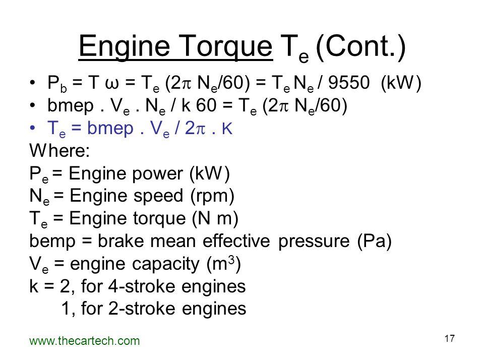 www.thecartech.com 17 Engine Torque T e (Cont.) P b = T ω = T e (2  N e /60) = T e N e / 9550 (kW) bmep.