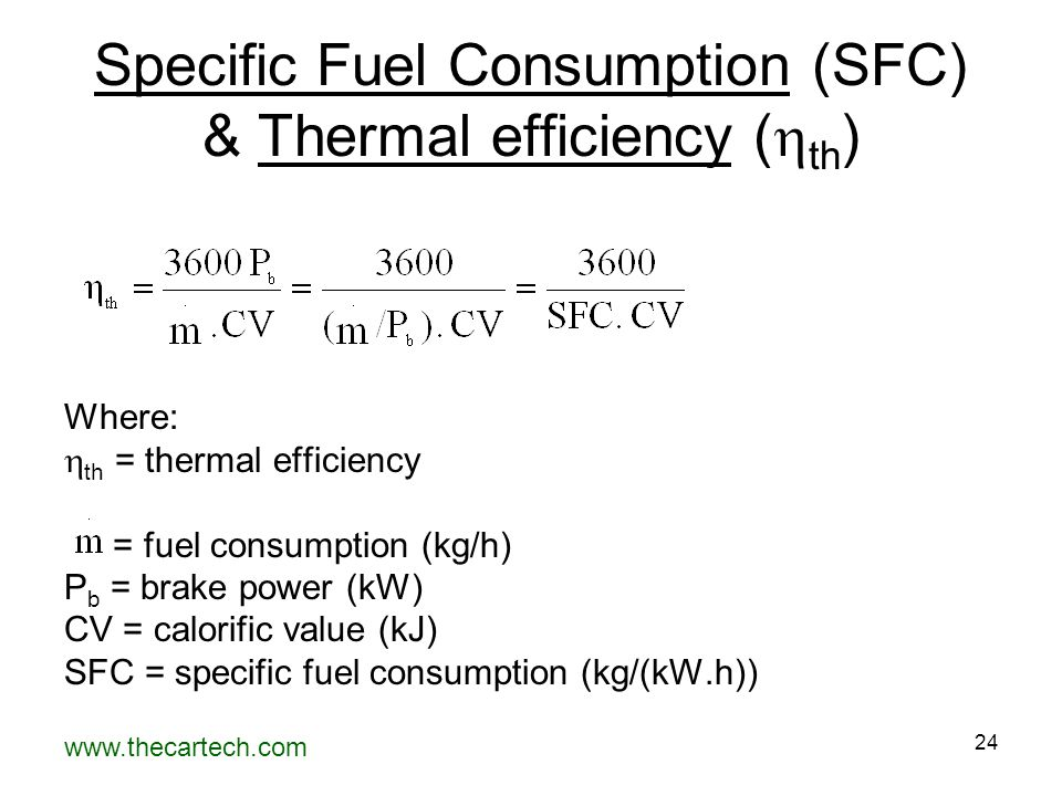 www.thecartech.com 24 Specific Fuel Consumption (SFC) & Thermal efficiency (  th ) Where:  th = thermal efficiency = fuel consumption (kg/h) P b = b