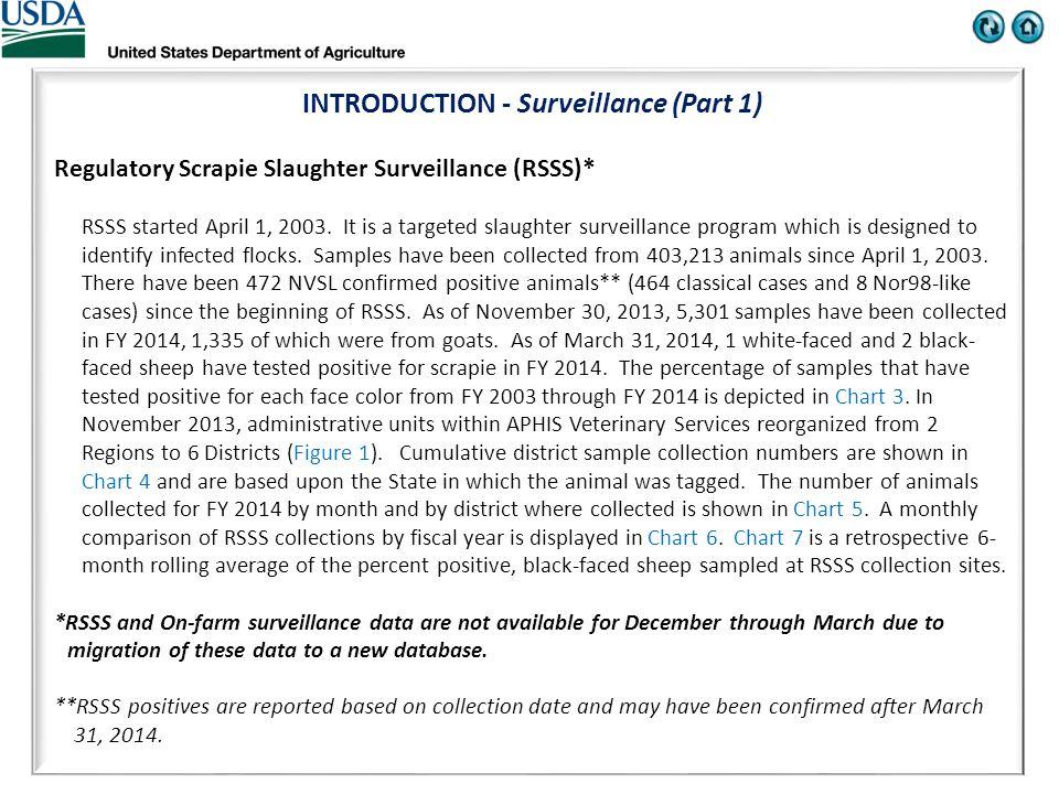 INTRODUCTION - Surveillance (Part 1) Regulatory Scrapie Slaughter Surveillance (RSSS)* RSSS started April 1, 2003.