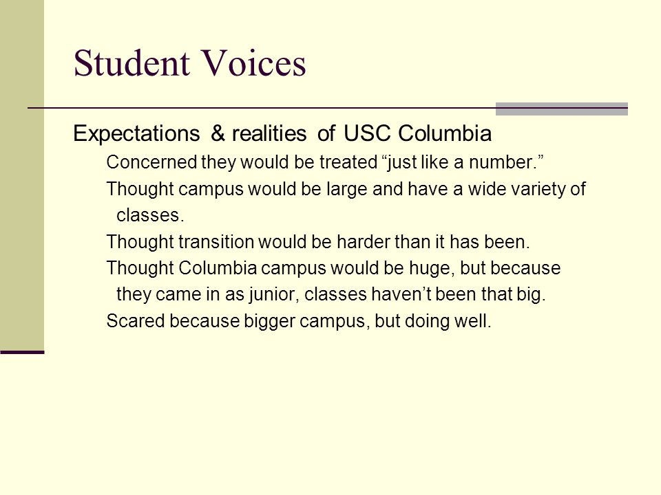 Student Voices Expectations & realities of USC Columbia Concerned they would be treated just like a number. Thought campus would be large and have a wide variety of classes.