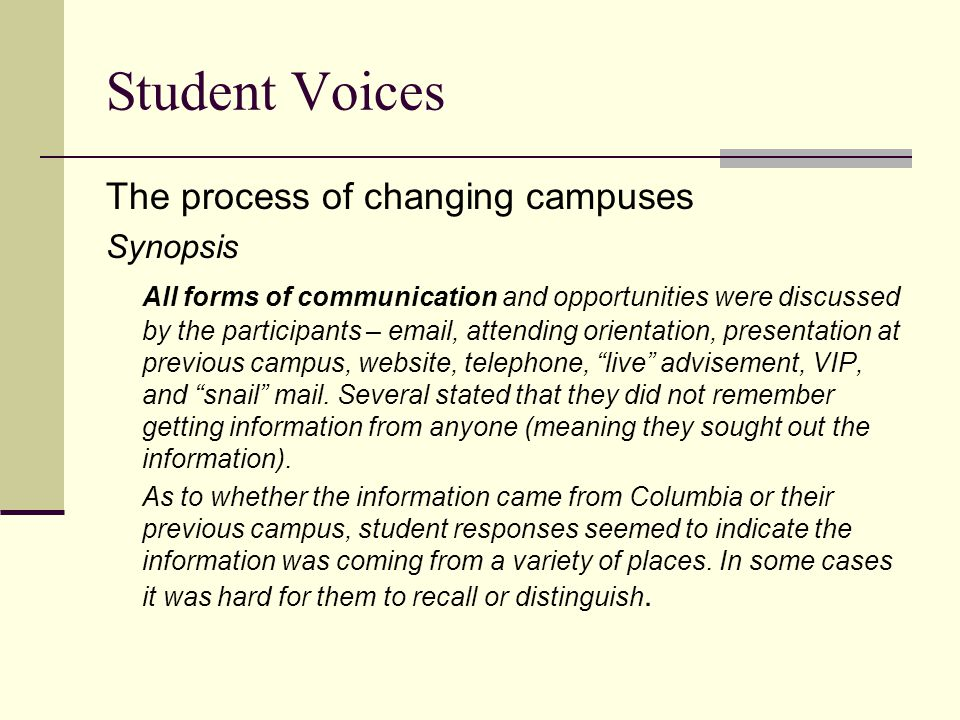Student Voices The process of changing campuses Synopsis All forms of communication and opportunities were discussed by the participants –  , attending orientation, presentation at previous campus, website, telephone, live advisement, VIP, and snail mail.