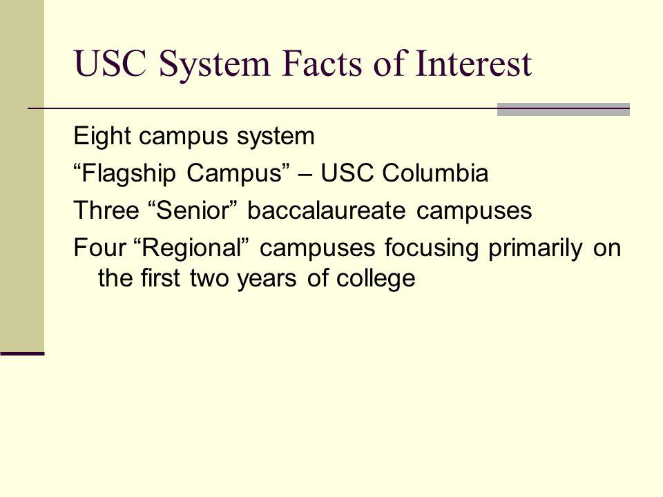 USC System Facts of Interest Fall 2008 Headcounts The USC System enrolled 41,518 students USC Columbia -19,765 undergraduate & 6,218 graduate students USC Senior campus undergraduate enrollments: Aiken-3,078 Beaufort-1,502 Upstate-4,999 USC Regional campus enrollments: Lancaster-1,666 Salkehatchie-965 Sumter-1,235 Union-367