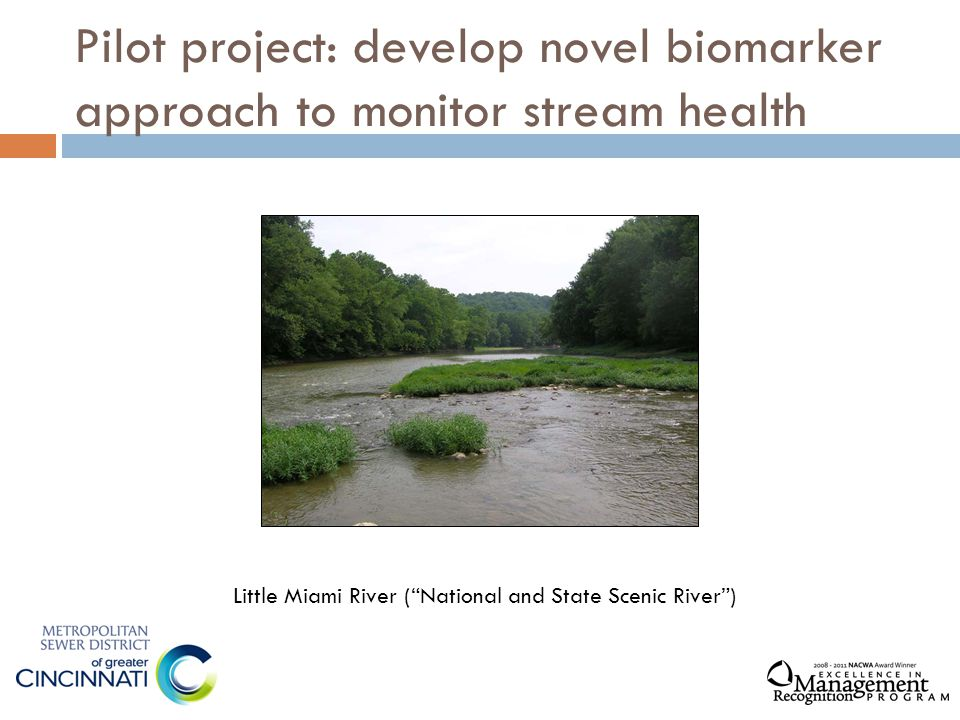 "Pilot project: develop novel biomarker approach to monitor stream health Little Miami River (""National and State Scenic River"")"