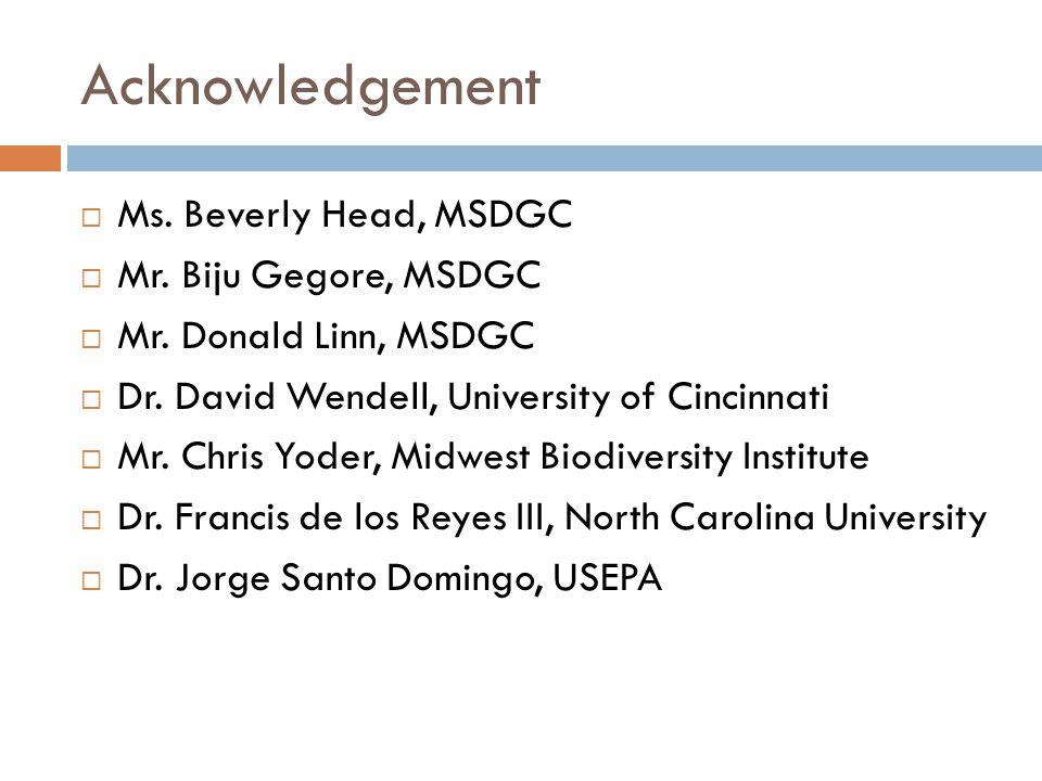 Acknowledgement  Ms. Beverly Head, MSDGC  Mr. Biju Gegore, MSDGC  Mr.