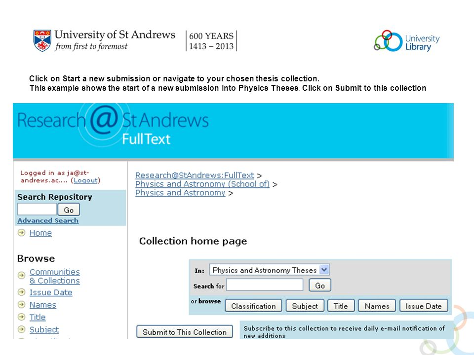 Click on Start a new submission or navigate to your chosen thesis collection.