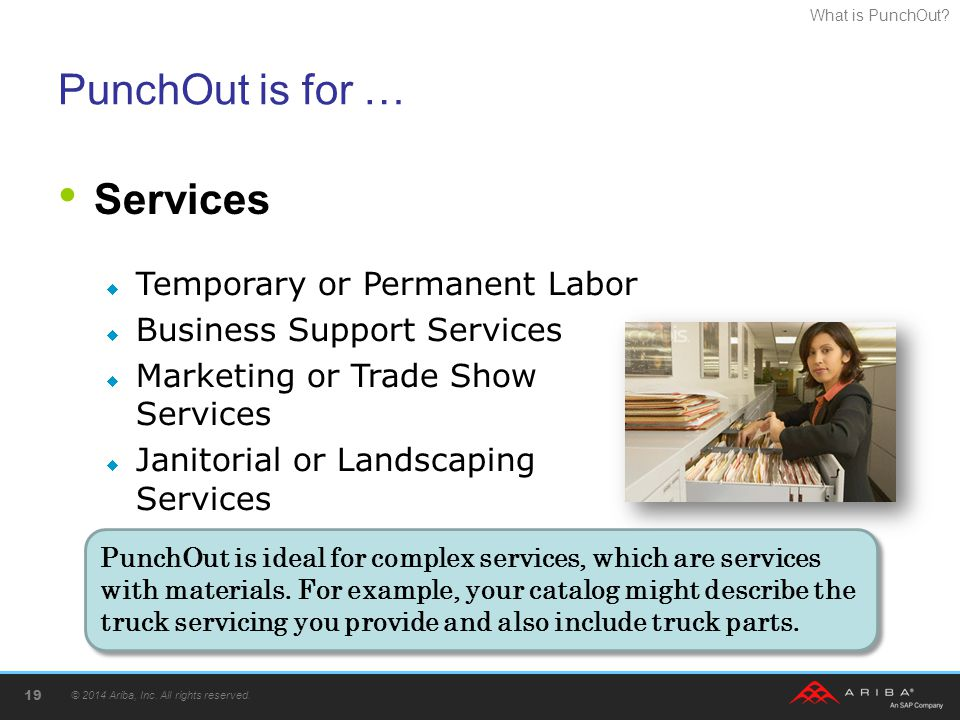 What is PunchOut? PunchOut is for … Services © 2014 Ariba, Inc. All rights reserved. 19  Temporary or Permanent Labor  Business Support Services  M