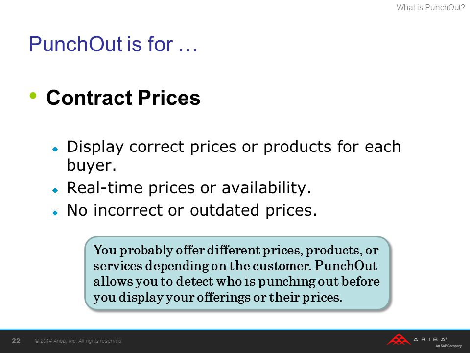 What is PunchOut? PunchOut is for … Contract Prices  Display correct prices or products for each buyer.  Real-time prices or availability.  No inco