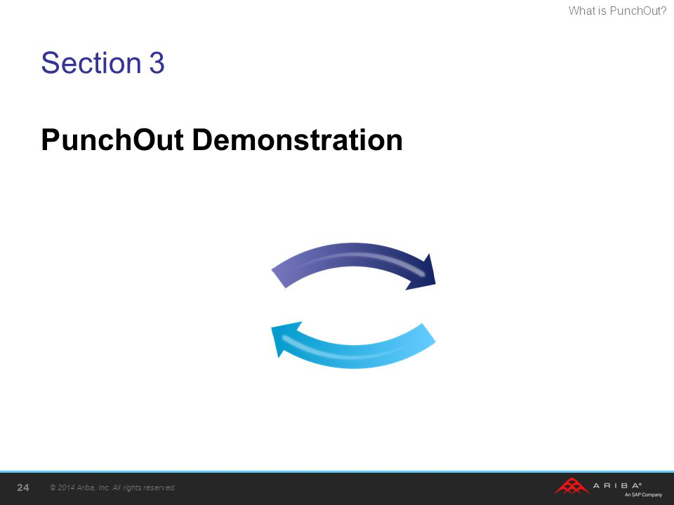 What is PunchOut? Section 3 PunchOut Demonstration © 2014 Ariba, Inc. All rights reserved. 24