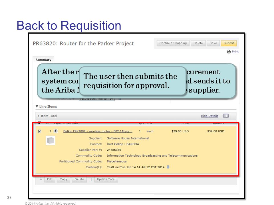 Back to Requisition © 2014 Ariba, Inc. All rights reserved. 31 © 2014 Ariba, Inc. All rights reserved. $39.00 USD After the user checks out, the Punch