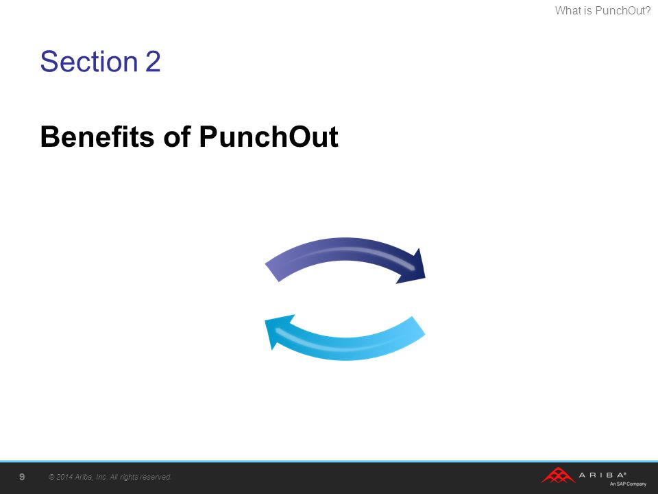 What is PunchOut? Section 2 Benefits of PunchOut © 2014 Ariba, Inc. All rights reserved. 9