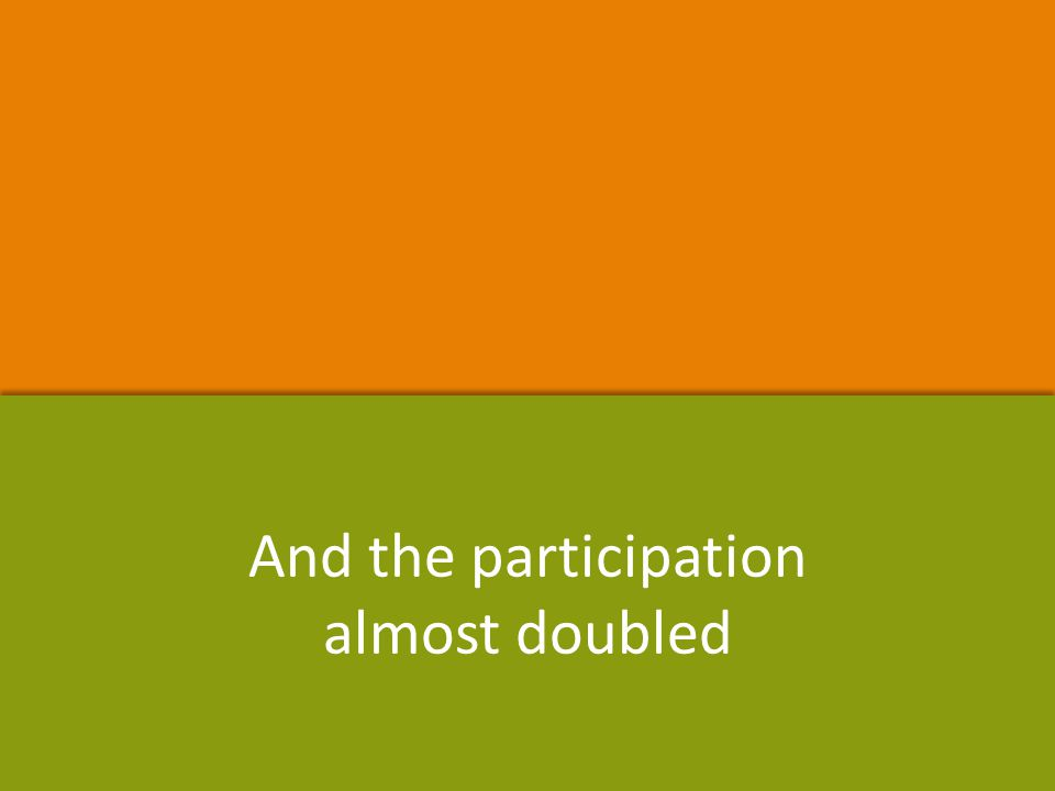 And the participation almost doubled And the participation almost doubled