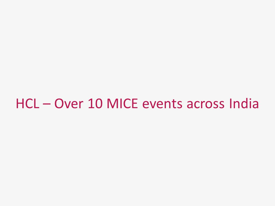 HCL – Over 10 MICE events across India