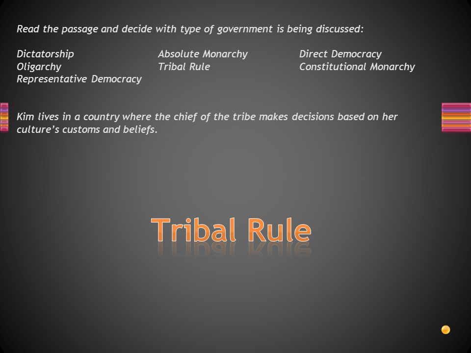 Read the passage and decide with type of government is being discussed: DictatorshipAbsolute MonarchyDirect Democracy OligarchyTribal RuleConstitutional Monarchy Representative Democracy Kim lives in a country where the chief of the tribe makes decisions based on her culture's customs and beliefs.