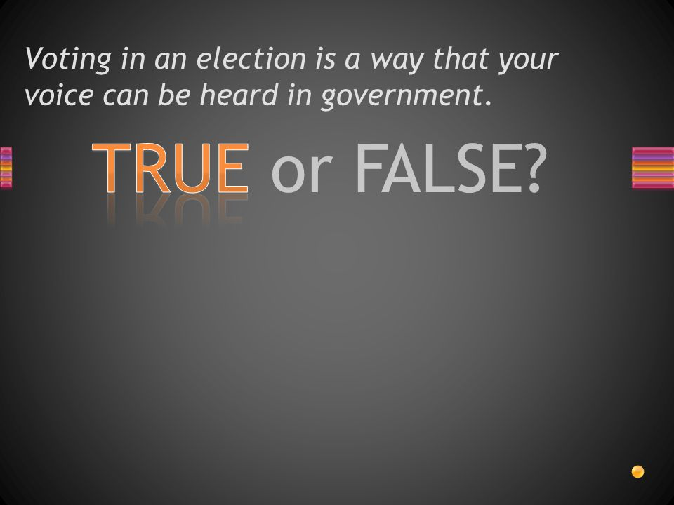 TRUE or FALSE? Voting in an election is a way that your voice can be heard in government.