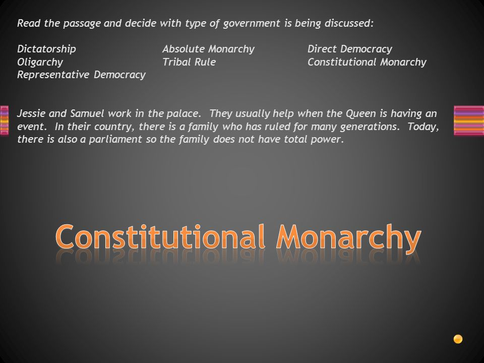 Read the passage and decide with type of government is being discussed: DictatorshipAbsolute MonarchyDirect Democracy OligarchyTribal RuleConstitutional Monarchy Representative Democracy Mistin lives in a country where one day a man decided he wanted to rule the country by himself.