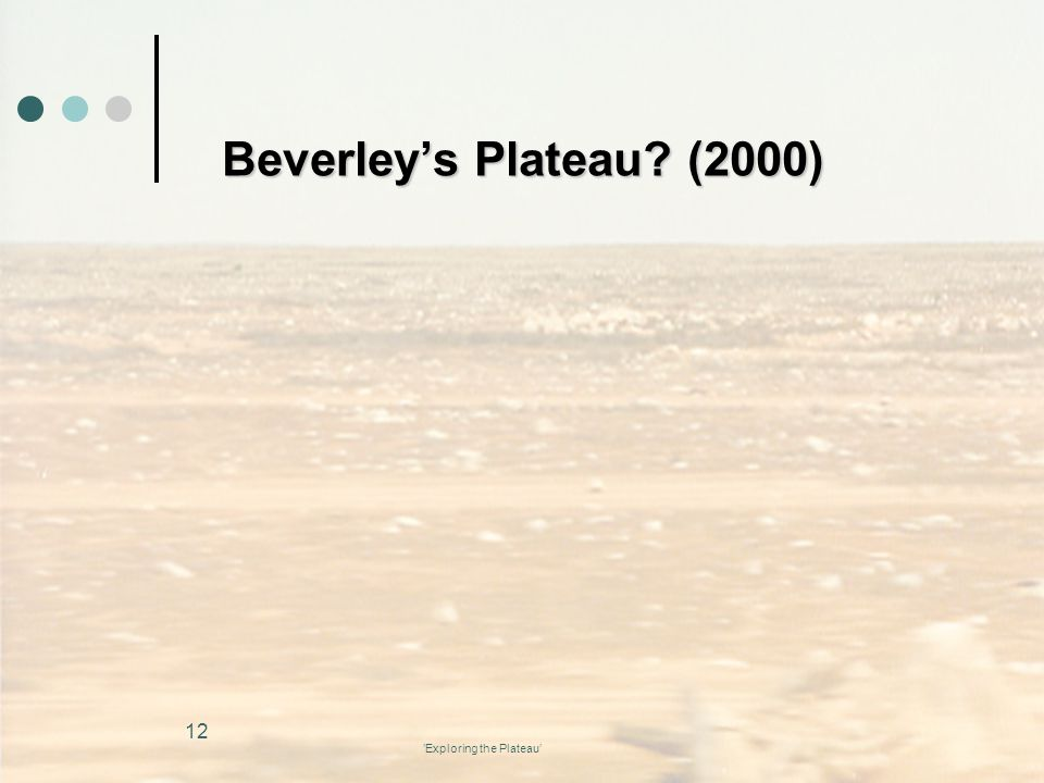 'Exploring the Plateau' Beverley's Plateau? (2000) 12