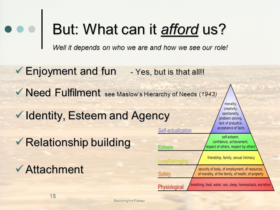 'Exploring the Plateau' But: What can it afford us.