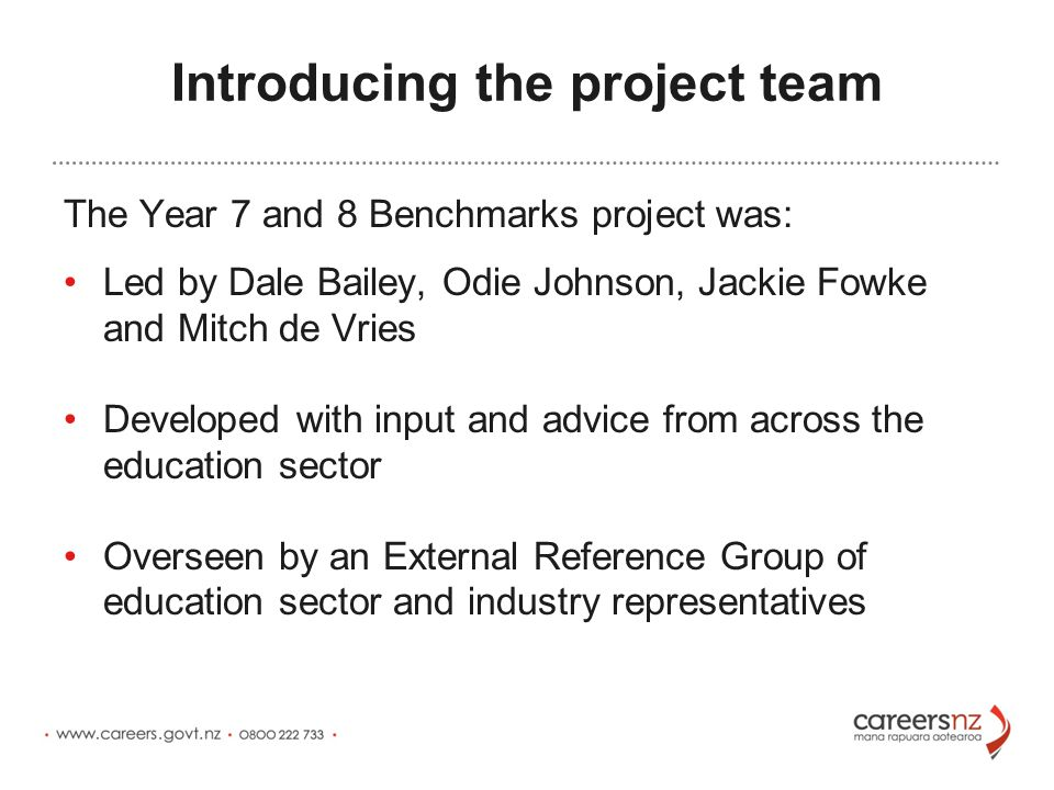 Introducing the project team The Year 7 and 8 Benchmarks project was: Led by Dale Bailey, Odie Johnson, Jackie Fowke and Mitch de Vries Developed with input and advice from across the education sector Overseen by an External Reference Group of education sector and industry representatives