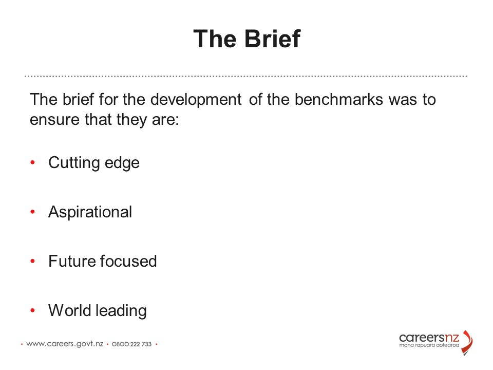 The Brief The brief for the development of the benchmarks was to ensure that they are: Cutting edge Aspirational Future focused World leading